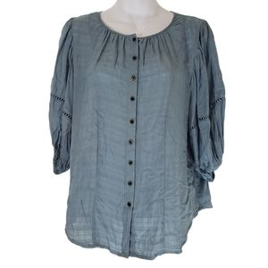 Knox Rose Flounce 3/4 Sleeve Button-Front Top